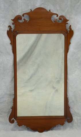 "Mahogany Chippendale Fretwork Wall Mirror, 44-3/4"" H X"