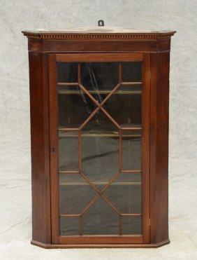 Mahogany Hanging Corner Cupboard, Single Door With
