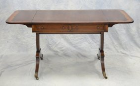 Banded Mahogany Regency Style Sofa Table With Drop Leaf