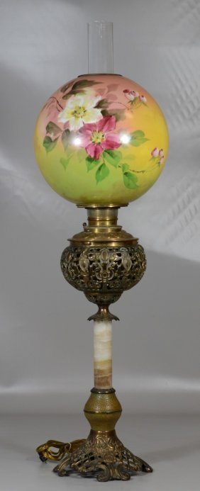 Brass And Agate Victorian Banquet Lamp, Floral Painted