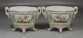 Pair Of Continental Enameled Pottery Footed Mantle