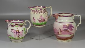 Three English Pink Luster Pitchers, One Decorated With