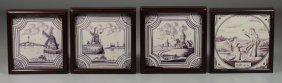 (4) Framed 18th Century Dutch Tiles, Manganese Glaze,
