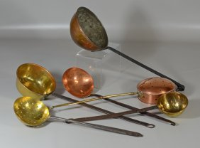 Lot 6 Early Brass, Copper, & Wrought Iron Implements
