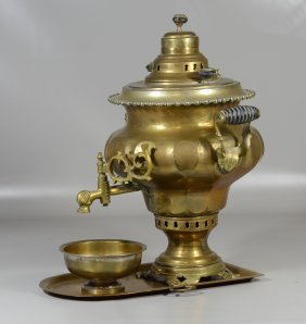 Imperial Russian Brass Samovar With Tray And Bowl,