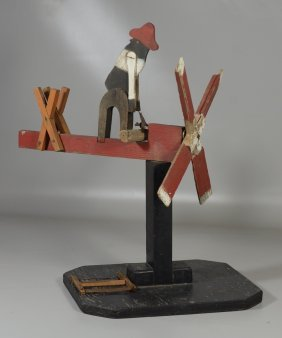American Folk Art Whirligig With Woodcutter, On Wooden