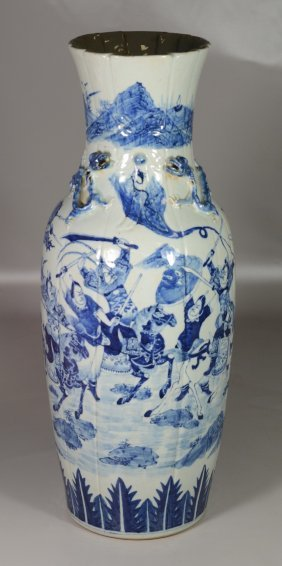 Large Chinese Blue & White Vase With Battle Scenes &