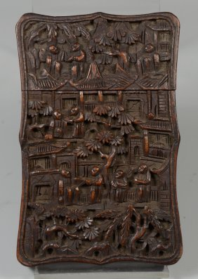 """Chinese Cantonese Carved Sandalwood Card Case, 4 1/4"""" H"""