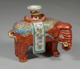 Chinese Export Famille Rose Elephant Form Joss Stick