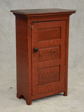 Pine One Door Hanging Cupboard With Black And Red