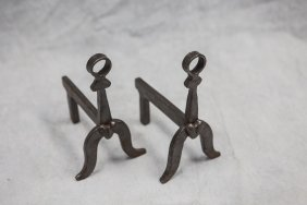 Pair Of Miniature Wrought Iron Andirons With Applied
