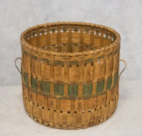 """Indian Woodland Basket With Ears, 12""""x15"""""""