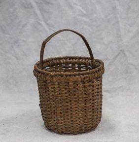 """Carrot Picking Oak Splint Basket, C 1890, 10"""" H X"""