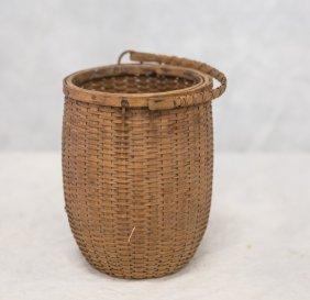 "Small Ash Splint Berry Basket, 9-1/2"" H, Handle"