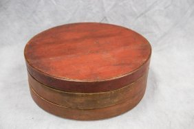 Shaker Cheese Box, Red Stained Lid, Signed Rl Eastman
