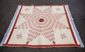 Lone Star Quilt, Stars In Corners, Red, White & Blue