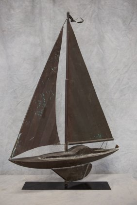 Copper Sailboat Weathervane On Steel Stand, Mid-20th C,