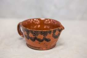 Spouted Redware Porringer With Manganese Decoration, 6""