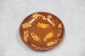 "Pennsylvania Redware Slip Decorated Plate, 9"" Dia"