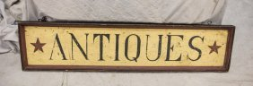 """Painted Wood Contemporary Antique Sign, 51"""" X 12"""""""