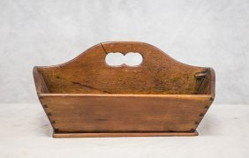 Dovetailed Walnut Implement Tray With Cutout Handle,