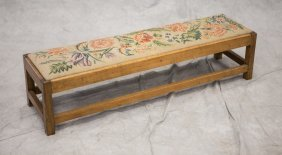 Long Softwood Bench With Outside Stretcher Base,
