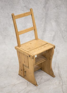 Scrubbed Pine Scandinavian Folding Chair/step Stool,