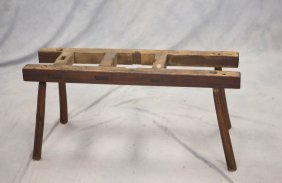 Primitive Pine Bucket Holder With Through Mortise