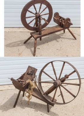 """2 Spinning Wheels, Tallest 37"""". Ex: Collection Of Irvin"""