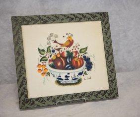 William Rank Folk Art Theorem, Bird On Bowl Of Fruit