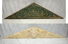 Pair Of Carved Pine Pitched Pediments, One Painted