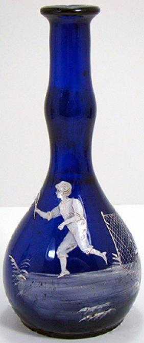 MARY GREGORY COBALT BLUE BARBER BOTTLE