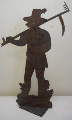 19th Century Sheet Iron Farmer Weathervane