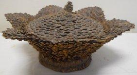 19th Century Pinecone Folk Art Sewing Basket