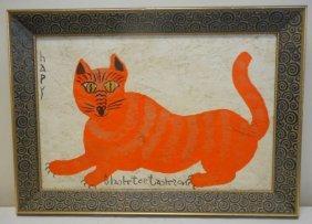 20th Century Folk Art Cat Painting