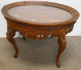 Carved And Inlaid Oval Victorian Table