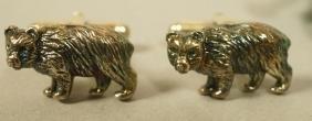 Pr Tiffany & Co Sterling Silver Bear Cufflinks. T