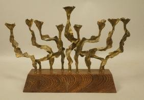 Brutalist Modernist Brass Menorah. Judaica. Sculp
