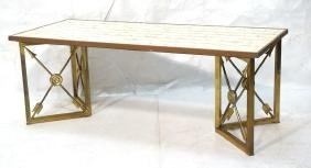 Regency Style Capiz Shell Coffee Cocktail Table.