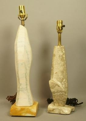 2pc Carved Stone Table Lamps. Carved Abstract Mar