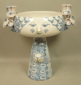 BJORN WIINBLAD Denmark Large Pottery Compote. Fig