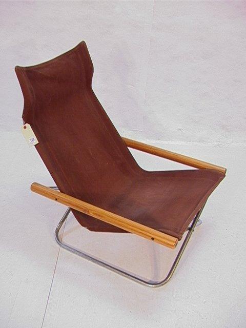 123 Japanese Folding Chrome Wood Canvas Sling Chair W