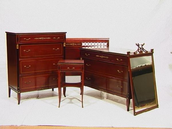 510: RWAY Mahogany Regency Style Bedroom Set. High An