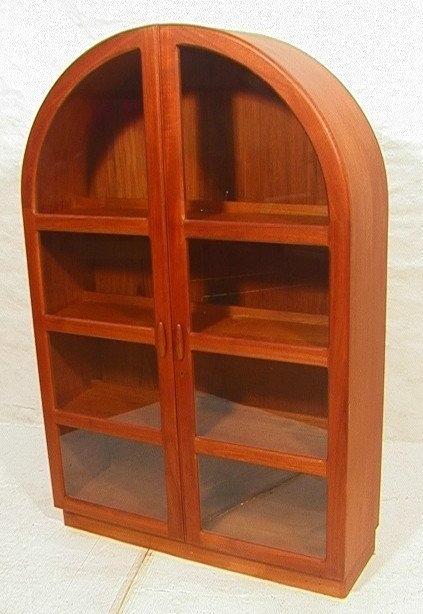 40: Teak Arched Top Two Door China Display Cabinet. : Lot 40