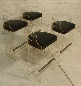 455 Set 4 Hill Lucite Acrylic Bar Stools Barrel Back