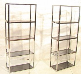 320: Pr Chrome Smoked Glass Etagere Display Shelves. : Lot 320
