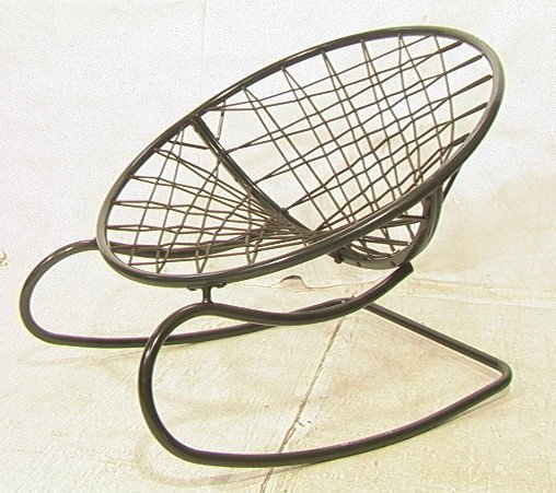 629 Green Bungee Cord Rocking Chair Metal Circle Fra