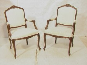 Pair French Carved Bergere Chairs.  Carved Frames
