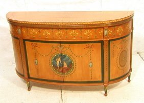Edwardian Style Paint Decorated Cabinet Sideboard