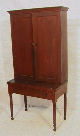 Antique Country Pine Blind Door Desk Cabinet.   T